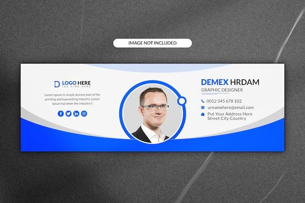 Modèle de pied de page de signature de courrier électronique et de bannière de médias sociaux