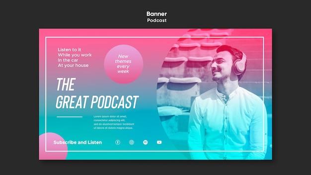 Modèle de podcast radio bannière