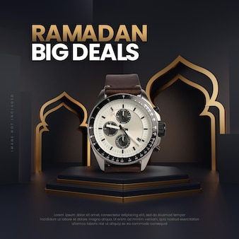 Modèle de podium de vente de ramadan en or noir