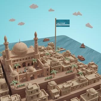Modèle de point de repère de villes 3d avec maquette