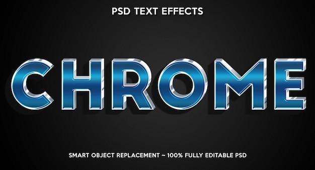 Modèle de police de texte avec effet de texte chrome