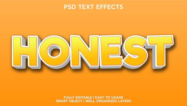 Modèle de police de texte avec effet de texte honnête
