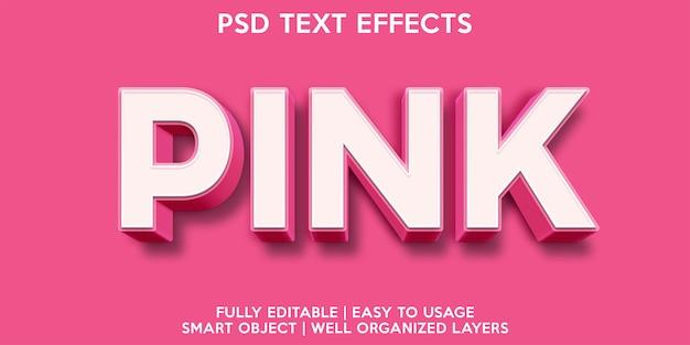 Modèle de police de texte avec effet de texte rose
