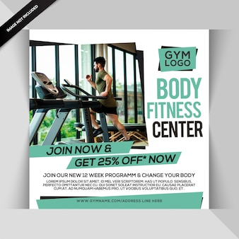 Modèle de post gym ou flyer carré pour gym fitness