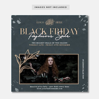 Modèle de post instagram de collection de mode vintage vendredi noir