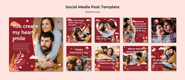 Modèle de post instagram couple happy valentine's day