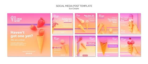 Modèle de post instagram de crème glacée