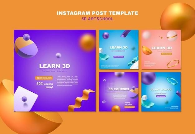 Modèle de post instagram école d'art