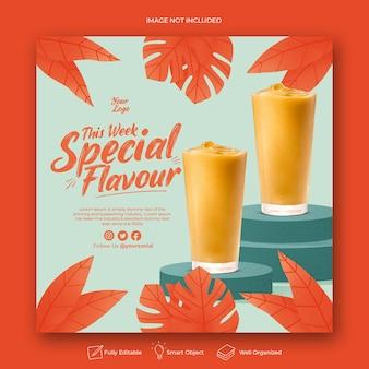 Modèle de post instagram de menu de boisson dessiné à la main