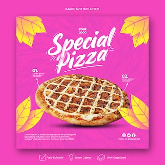 Modèle de post instagram de menu promo spécial dessiné à la main