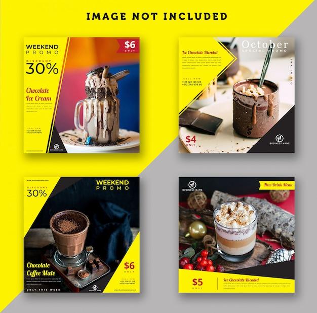 Modèle de post instagram pour boisson et nourriture
