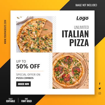 Modèle de post instagram pour offre de pizza