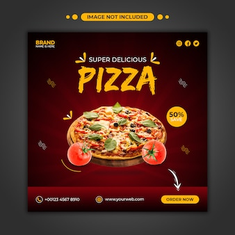 Modèle de post instagram de promotion de menu de pizza délicieuse