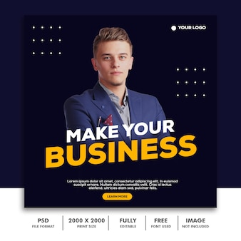 Modèle post square banner pour instagram, business corporate