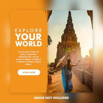 Modèle de poste instagram de voyage ou de vacances