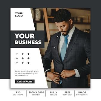 Modèle poster bannière carrée pour instagram, business corporate luxury modern black