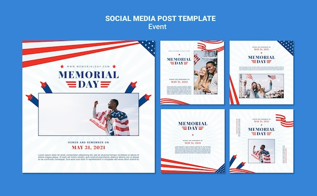 Modèle de posts instagram memorial day