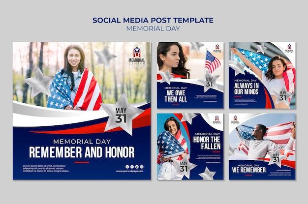 Modèle de posts instagram memorial day
