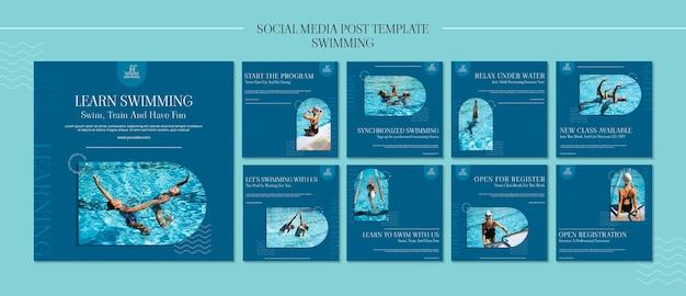 Modèle de posts instagram de natation avec photo