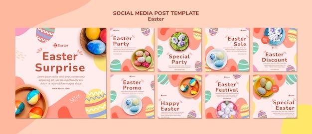 Modèle de posts instagram pour le jour de pâques pastel