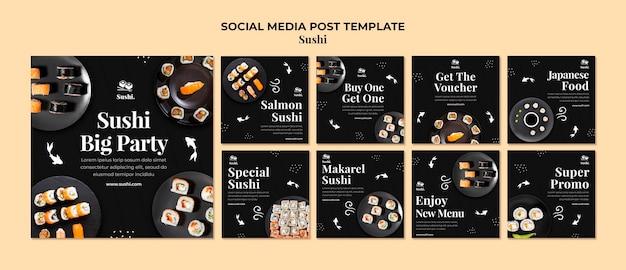 Modèle de posts instagram de sushi avec photo