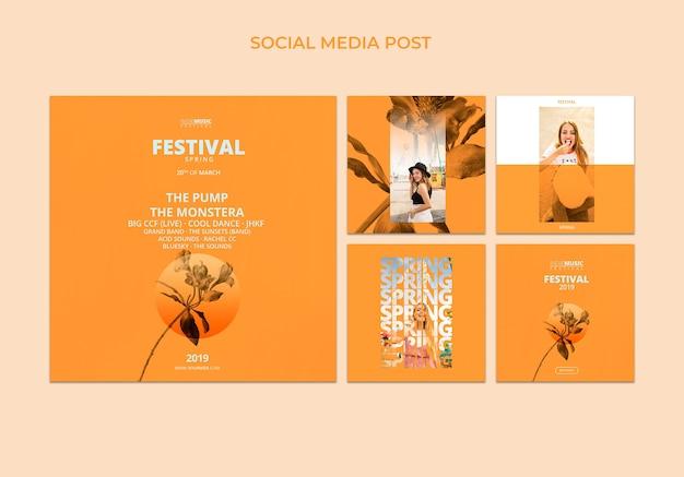 Modèle de poteau carré avec concept de festival de printemps
