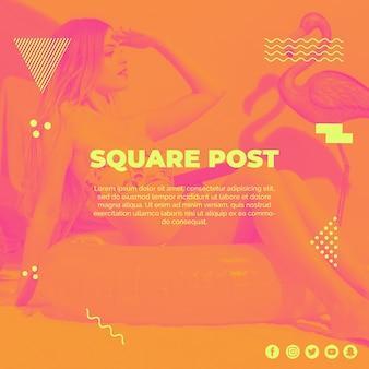 Modèle de poteau carré dans le style de memphis avec le concept de l'été