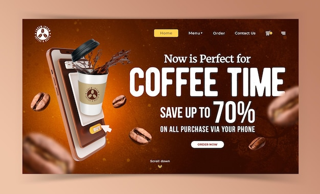 Modèle de promotion de marketing de café concept créatif