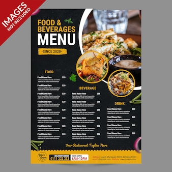 Modèle de promotion de menu de restaurant sombre et jaune premium psd