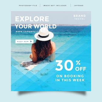 Modèle de promotion de publication de flux de médias sociaux de voyage