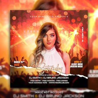 Modèle de promotion de publication sur les réseaux sociaux de musique et de bannière instagram psd premium