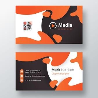 Modèle psd de carte de visite de forme orange