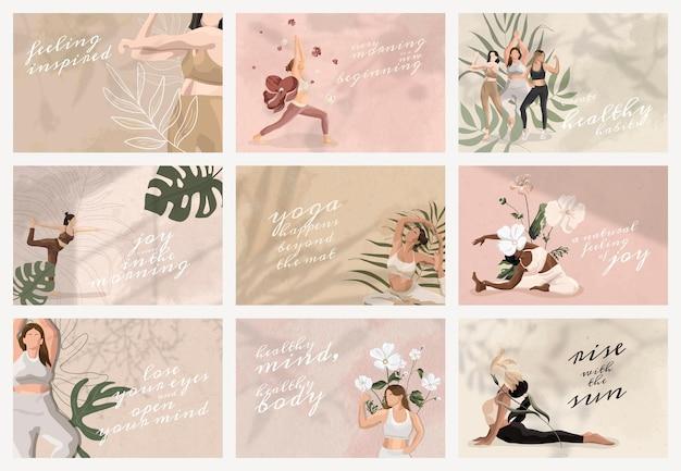 Modèle psd de citation de yoga et d'esprit pour l'ensemble de bannières de médias sociaux