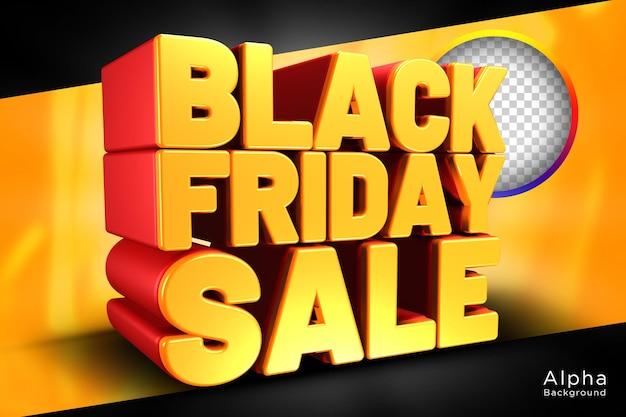 Modèle psd de conception de texte 3d de vente vendredi noir fond transparent