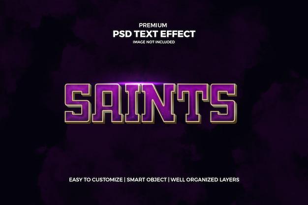 Modèle psd d'effet de texte 3d violet et or cinématique