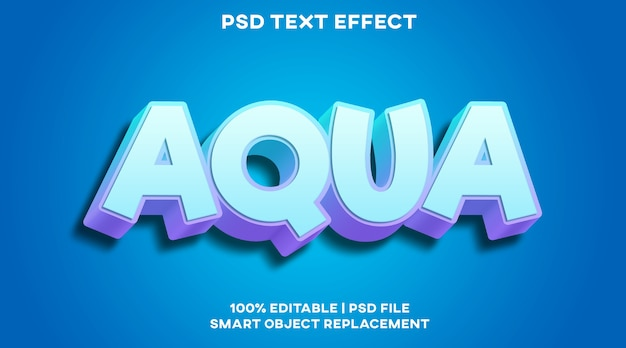 Modèle psd d'effet de texte aqua