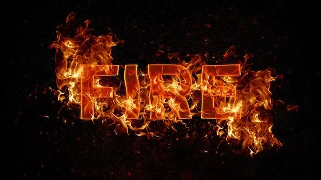 Modèle psd d'effet de texte de feu modifiable