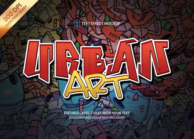 Modèle psd d'effet de texte logo style art graffiti.