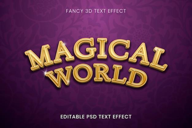 Modèle psd d'effet de texte or 3d fantaisie