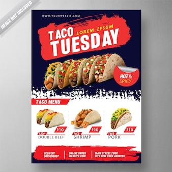 Modèle psd flyer taco mardi