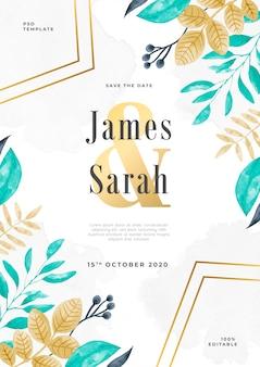 Modèle psd d'invitation de mariage aquarelle florar