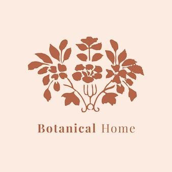 Modèle psd de logo de belle feuille pour la marque botanique en marron