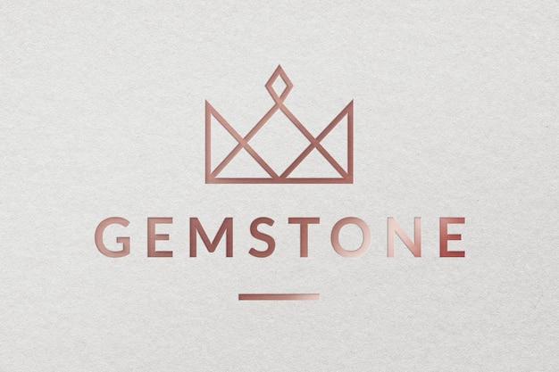 Modèle psd de logo d'entreprise de bijoux de pierres précieuses dans un style métallique