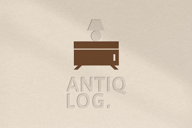 Modèle psd de logo d'entreprise de studio dans la texture de papier en creux