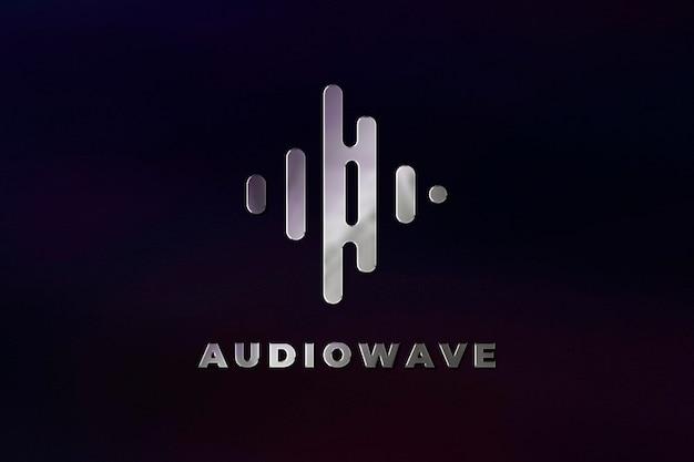 Modèle psd de logo d'entreprise de studio de musique dans la texture en acier