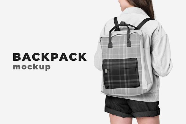 Modèle psd de maquette de sac à dos étudiant modifiable de retour à l'annonce de mode scolaire