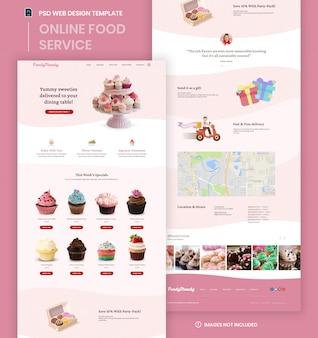 Modèle psd de page d'accueil de site web d'entreprise de livraison de nourriture.