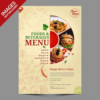 Modèle psd premium de conception de couverture de menu de nourriture vintage