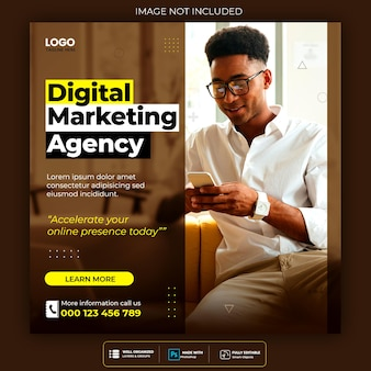 Modèle de publication d'agence de marketing numérique et de médias sociaux d'entreprise