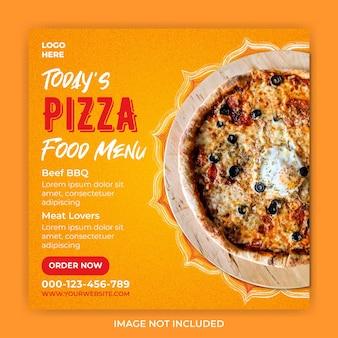 Modèle de publication de bannière carrée de médias sociaux de menu de nourriture de pizza